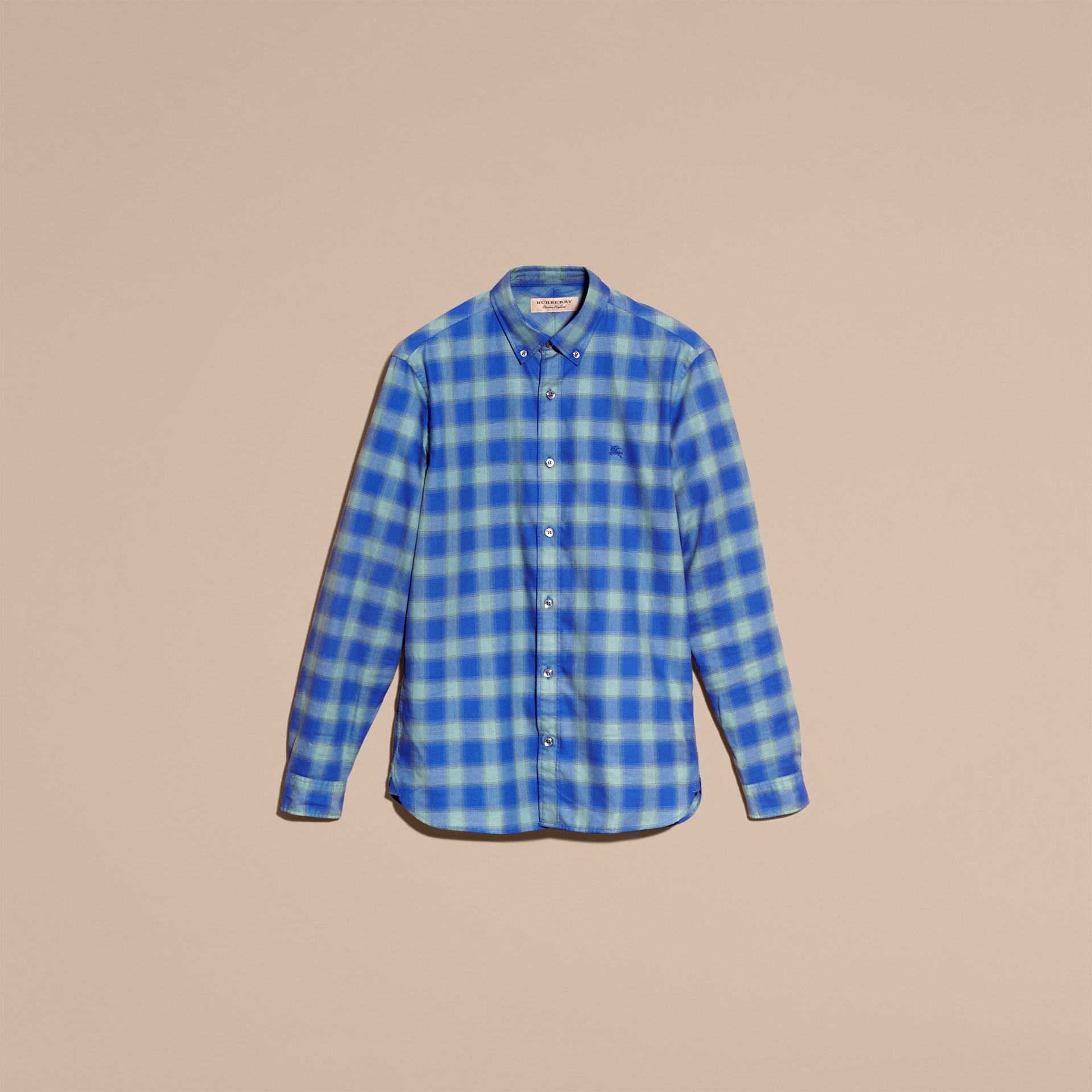 Gingham Check Cotton Shirt Eucalyptus Green - gallery image 4