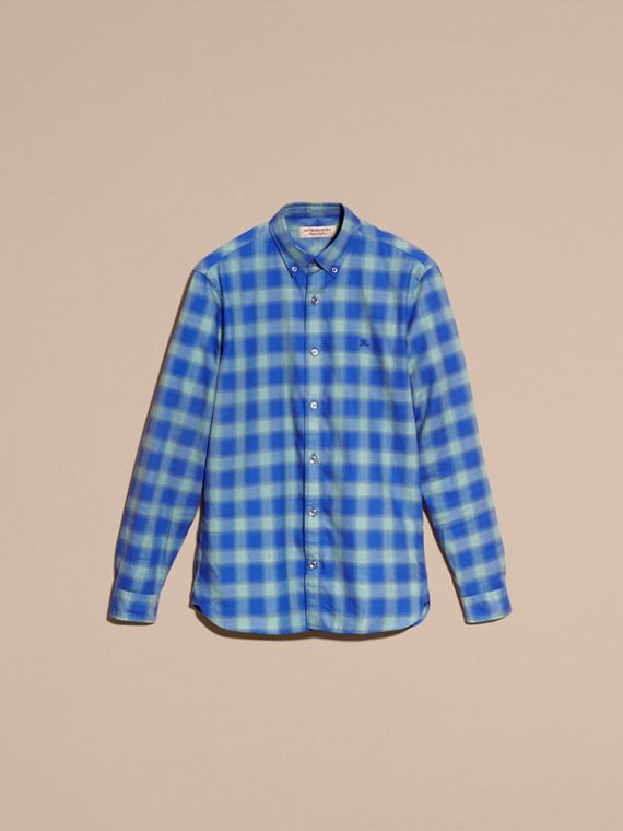 Gingham Check Cotton Shirt in Eucalyptus Green - cell image 3