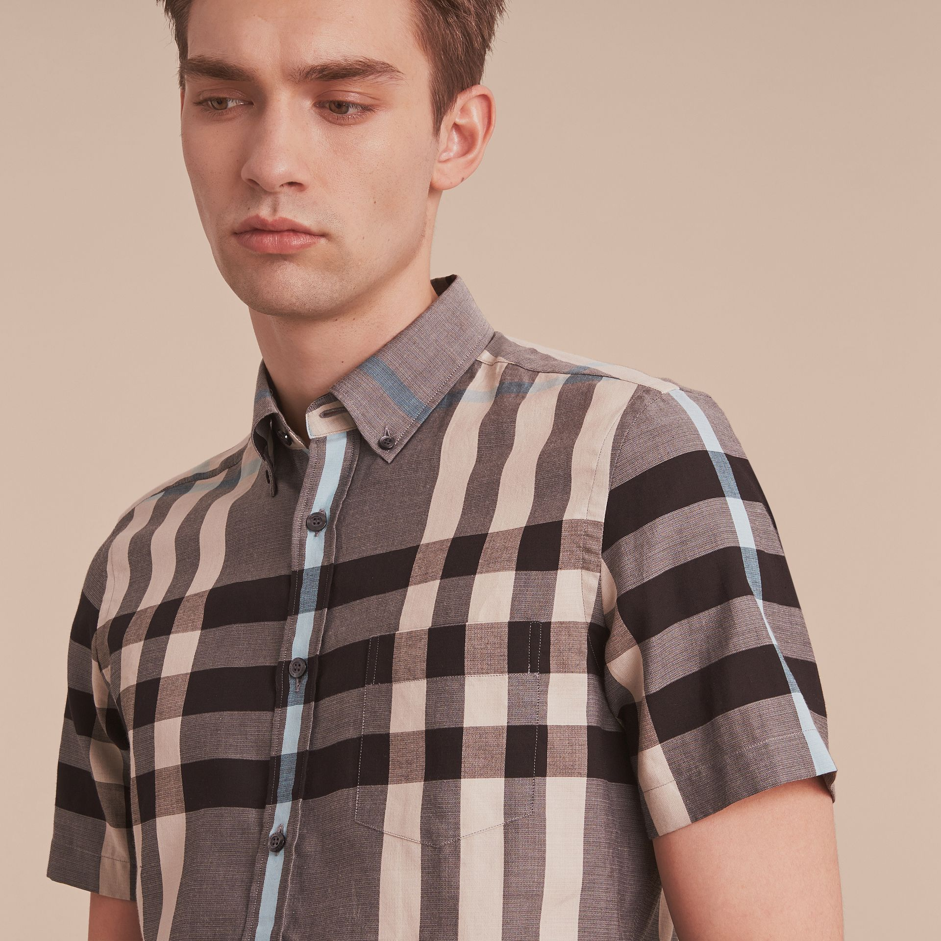 Button-down Collar Short-sleeve Check Cotton Shirt in Mist Grey - gallery image 5