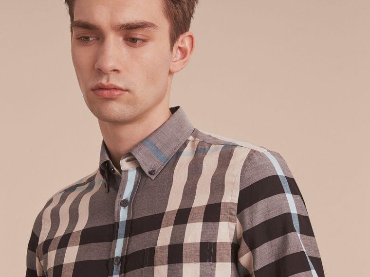 Button-down Collar Short-sleeve Check Cotton Shirt in Mist Grey - cell image 4