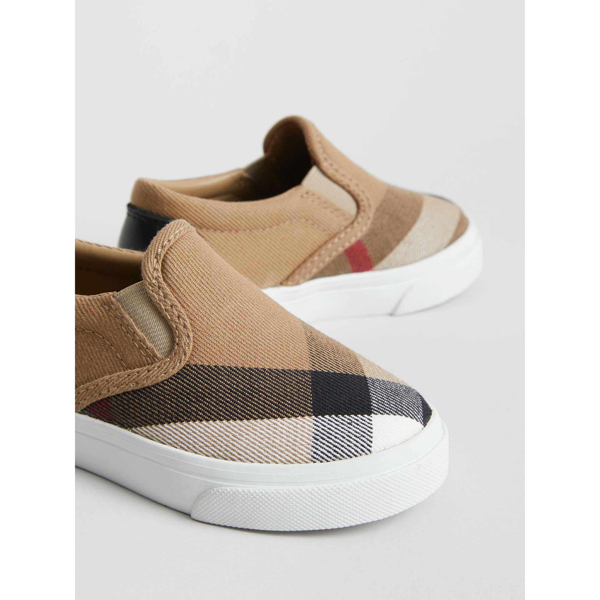 House Check and Leather Slip-on Sneakers in Classic/optic White | Burberry United States - gallery image 1