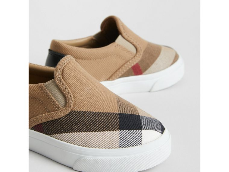 House Check and Leather Slip-on Sneakers in Classic/optic White | Burberry United States - cell image 1