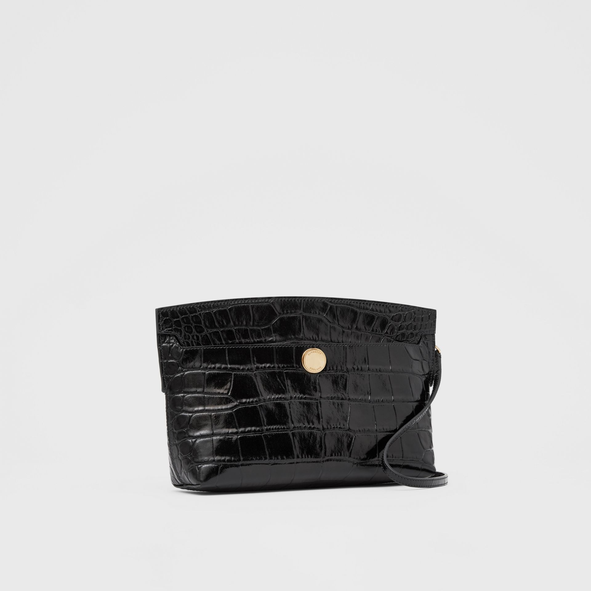 Embossed Leather Society Clutch in Black - Women | Burberry - gallery image 6
