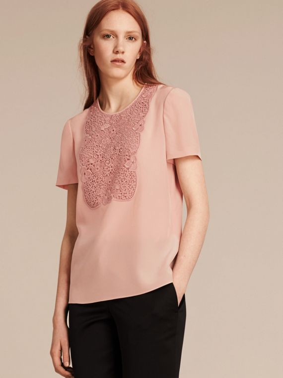 Lace Panel Silk Top Chalk Pink
