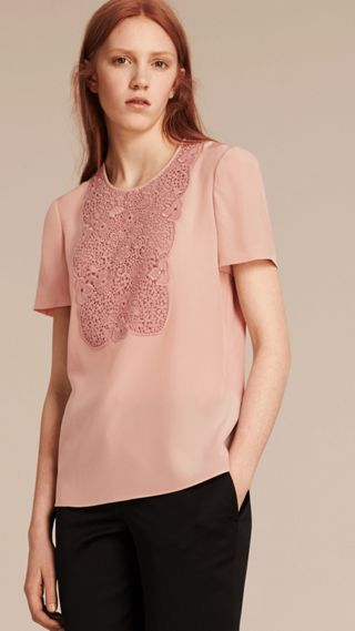 Lace Panel Silk Top