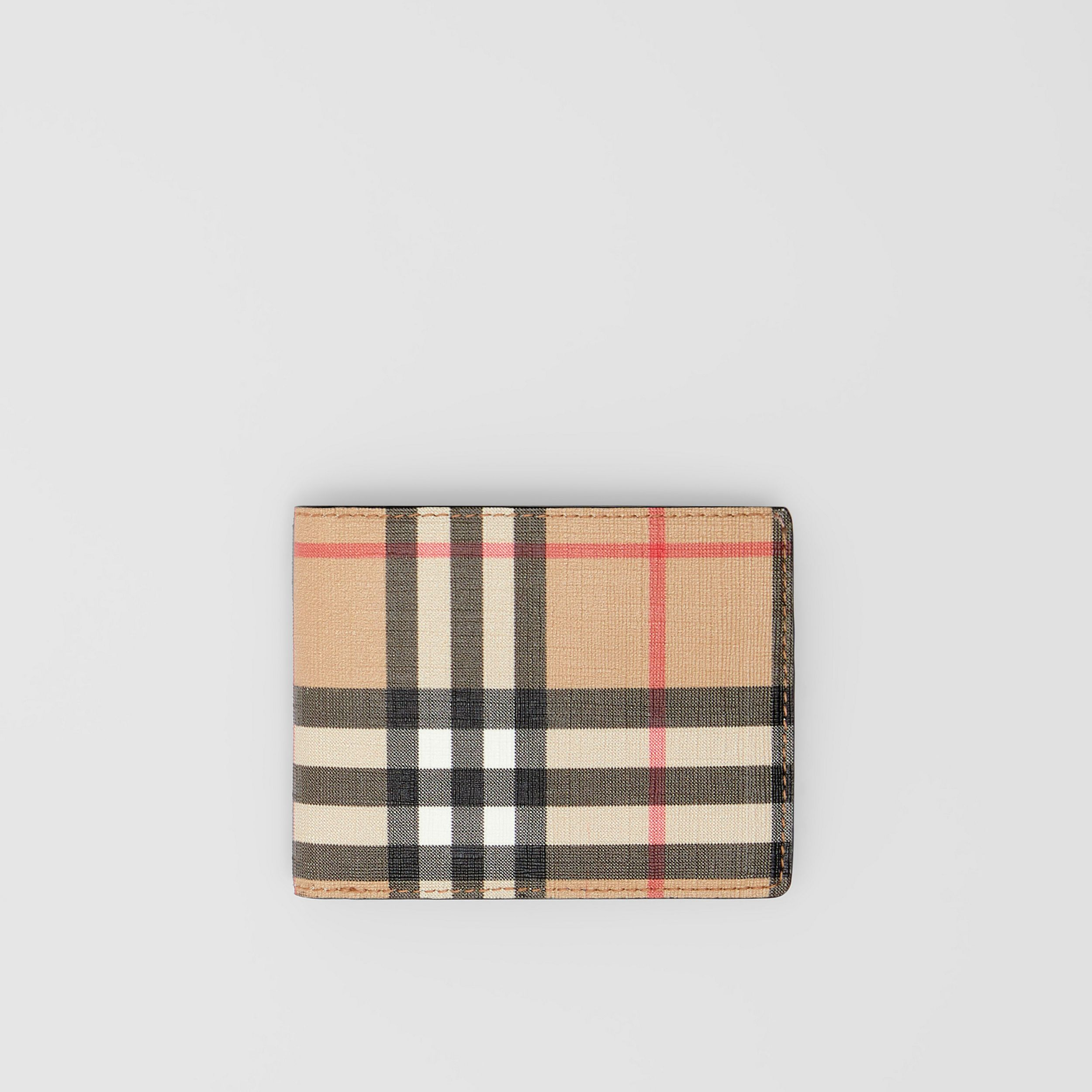 Vintage Check E-canvas and Leather Bifold Wallet in Archive Beige - Men | Burberry - 1