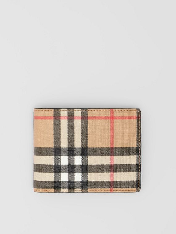 Vintage Check E-canvas and Leather Bifold Wallet in Archive Beige