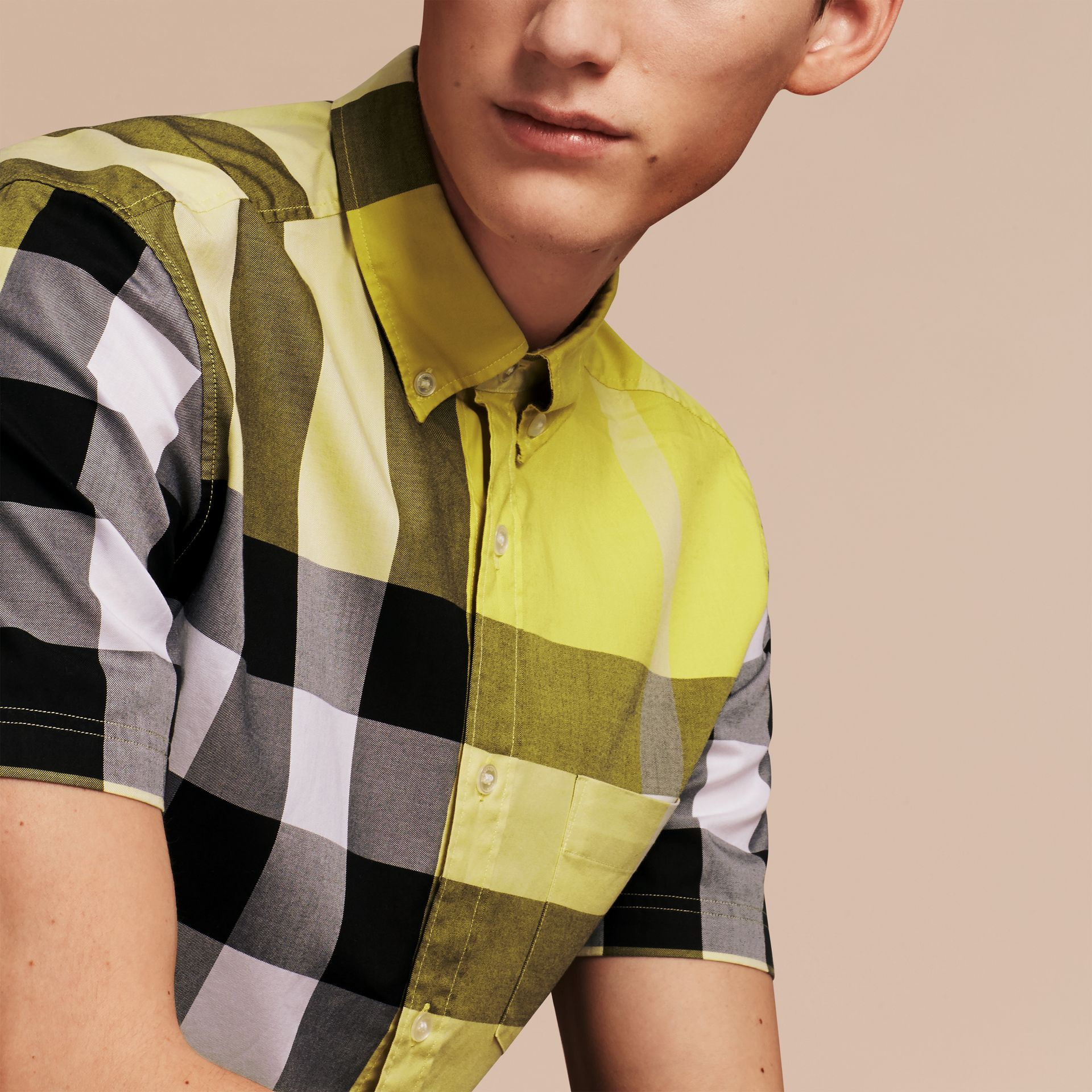 Pale yellow Short-sleeved Check Cotton Shirt Pale Yellow - gallery image 5
