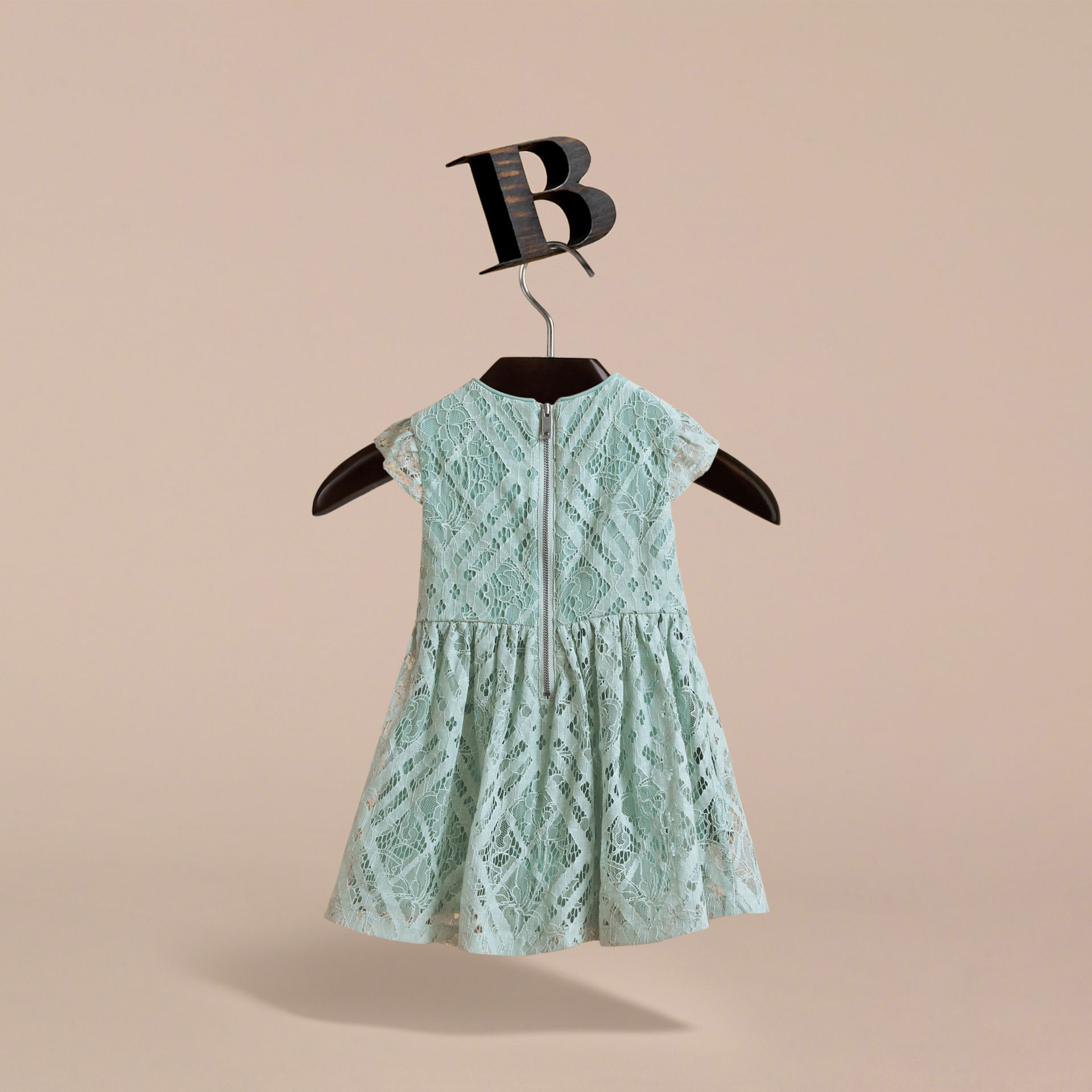 Cap-sleeve Check Lace Dress in Pale Slate Blue | Burberry - gallery image 4