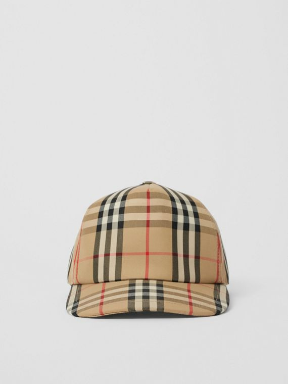 Logo Detail Vintage Check Baseball Cap in Archive Beige