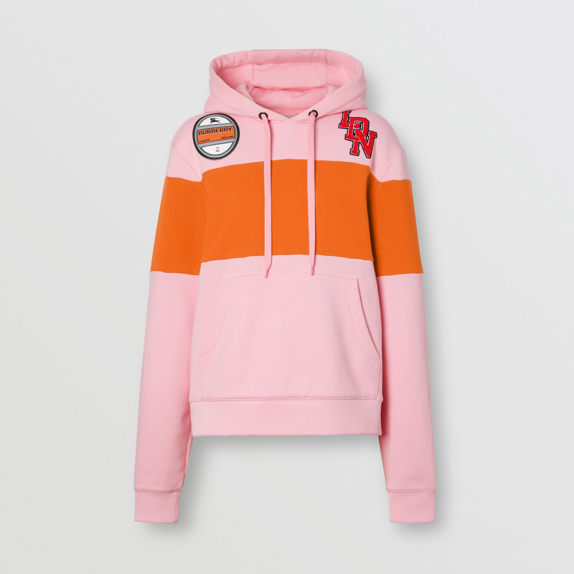 Logo Graphic Panelled Cotton Oversized Hoodie in Candy Pink - Women | Burberry United Kingdom - gallery image 3