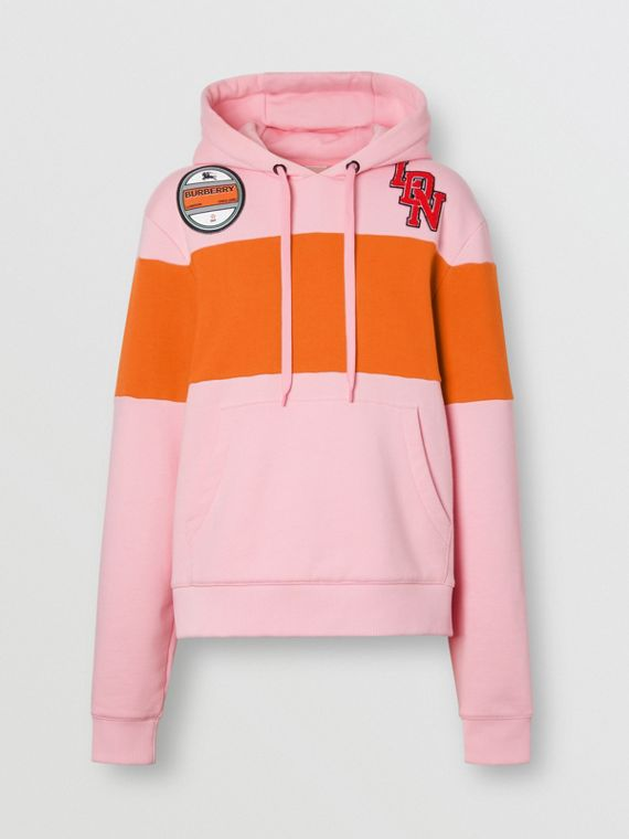 Logo Graphic Panelled Cotton Oversized Hoodie in Candy Pink