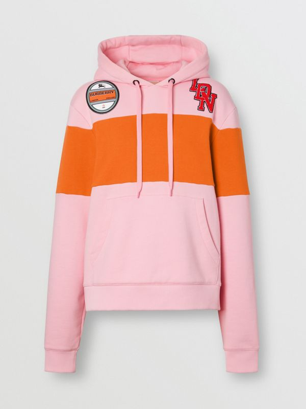 Logo Graphic Panelled Cotton Oversized Hoodie in Candy Pink - Women | Burberry - cell image 3