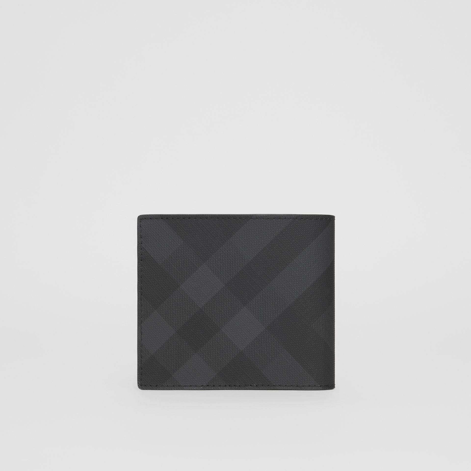 London Check and Leather International Bifold Wallet in Dark Charcoal - Men | Burberry United States - gallery image 4