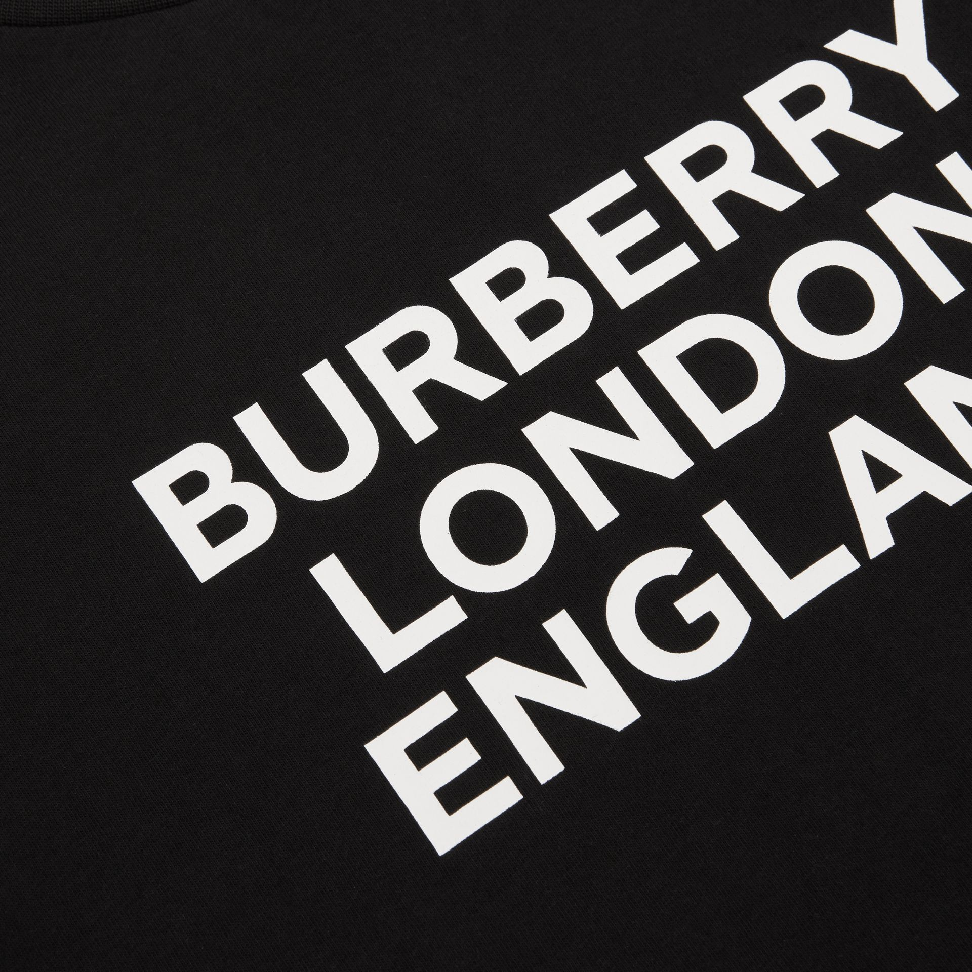 Long-sleeve Logo Print Cotton Top in Black | Burberry United Kingdom - gallery image 1