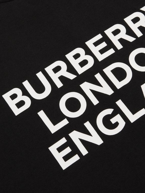 Long-sleeve Logo Print Cotton Top in Black | Burberry United Kingdom - cell image 1