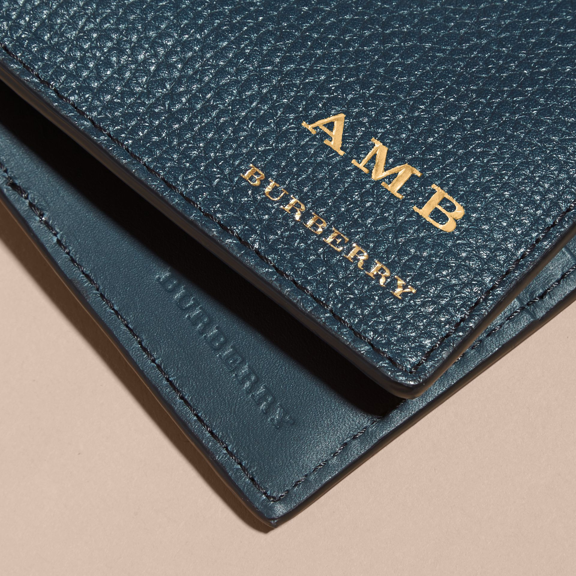 Grainy Leather and House Check Bifold Wallet in Storm Blue - gallery image 7