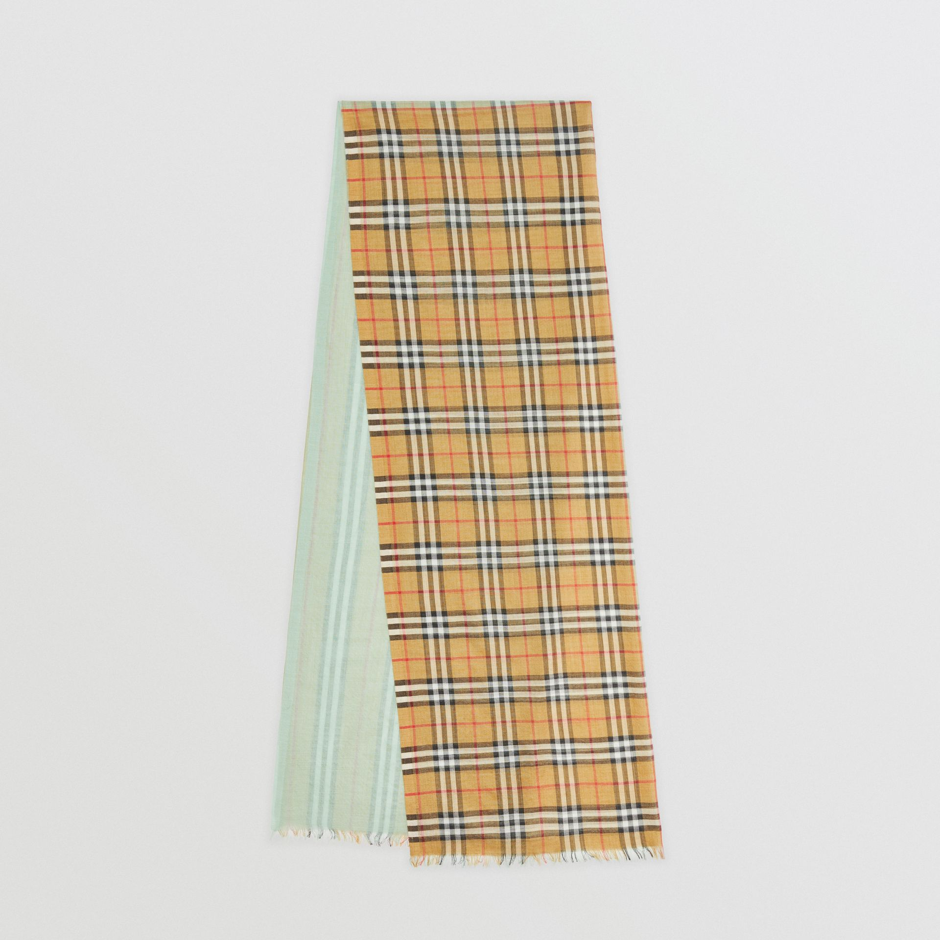Vintage Check Colour Block Wool Silk Scarf in Light Mint | Burberry - gallery image 0