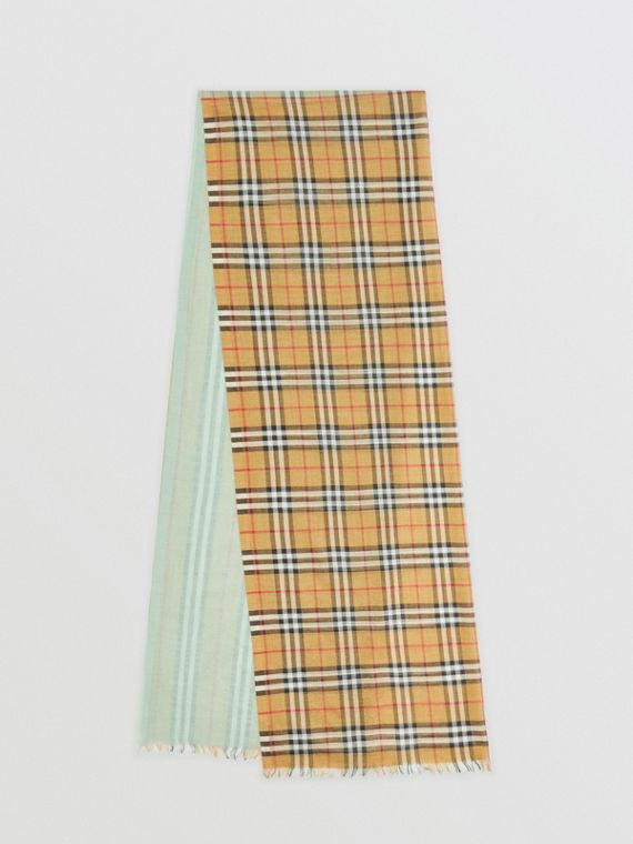 Vintage Check Colour Block Wool Silk Scarf in Light Mint