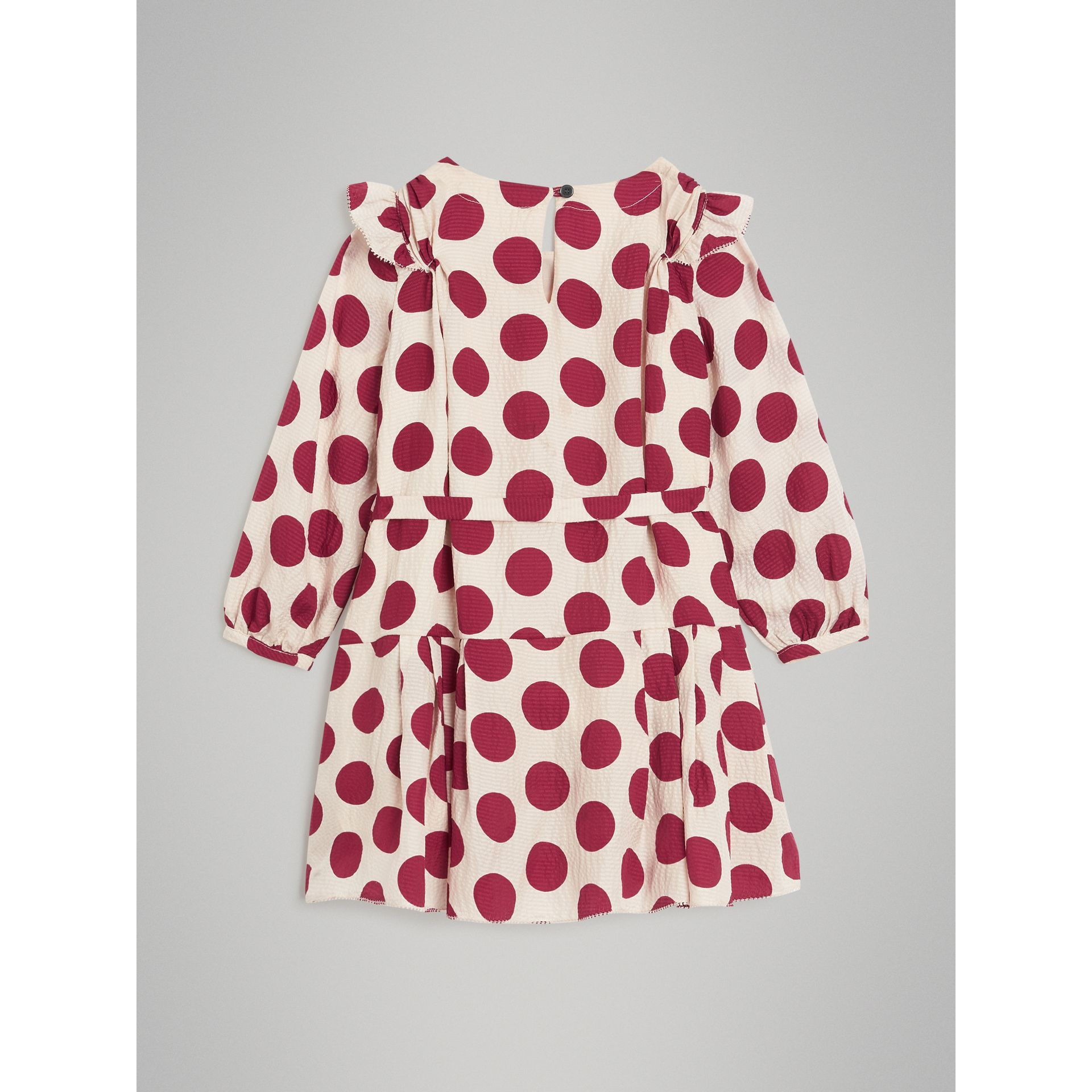 Polka Dot Print Silk Crepe Dress in Windsor Red | Burberry - gallery image 3