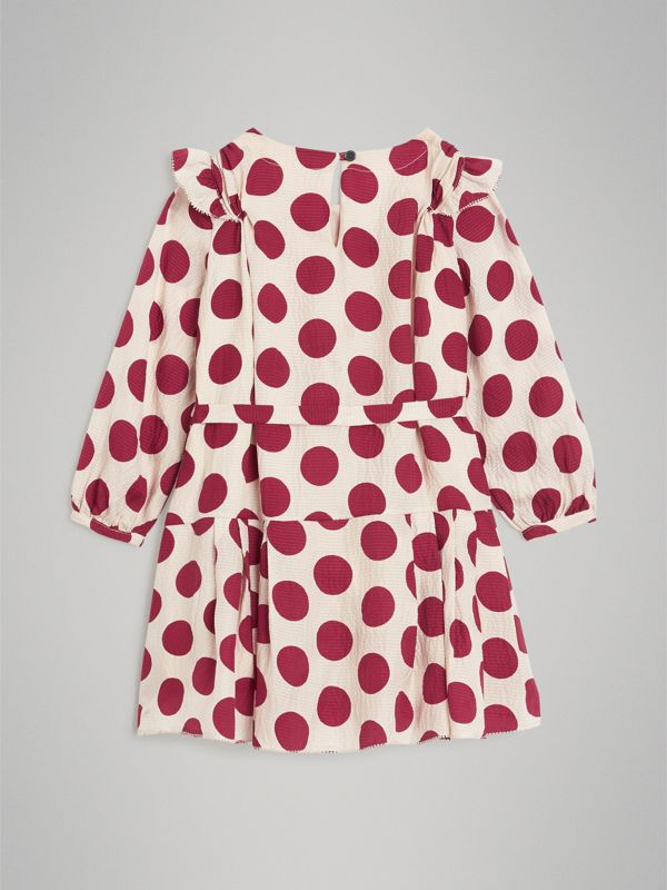 Polka Dot Print Silk Crepe Dress in Windsor Red | Burberry - cell image 3