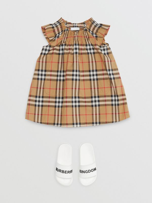 Smocked Vintage Check Cotton Dress in Antique Yellow - Children | Burberry - cell image 2