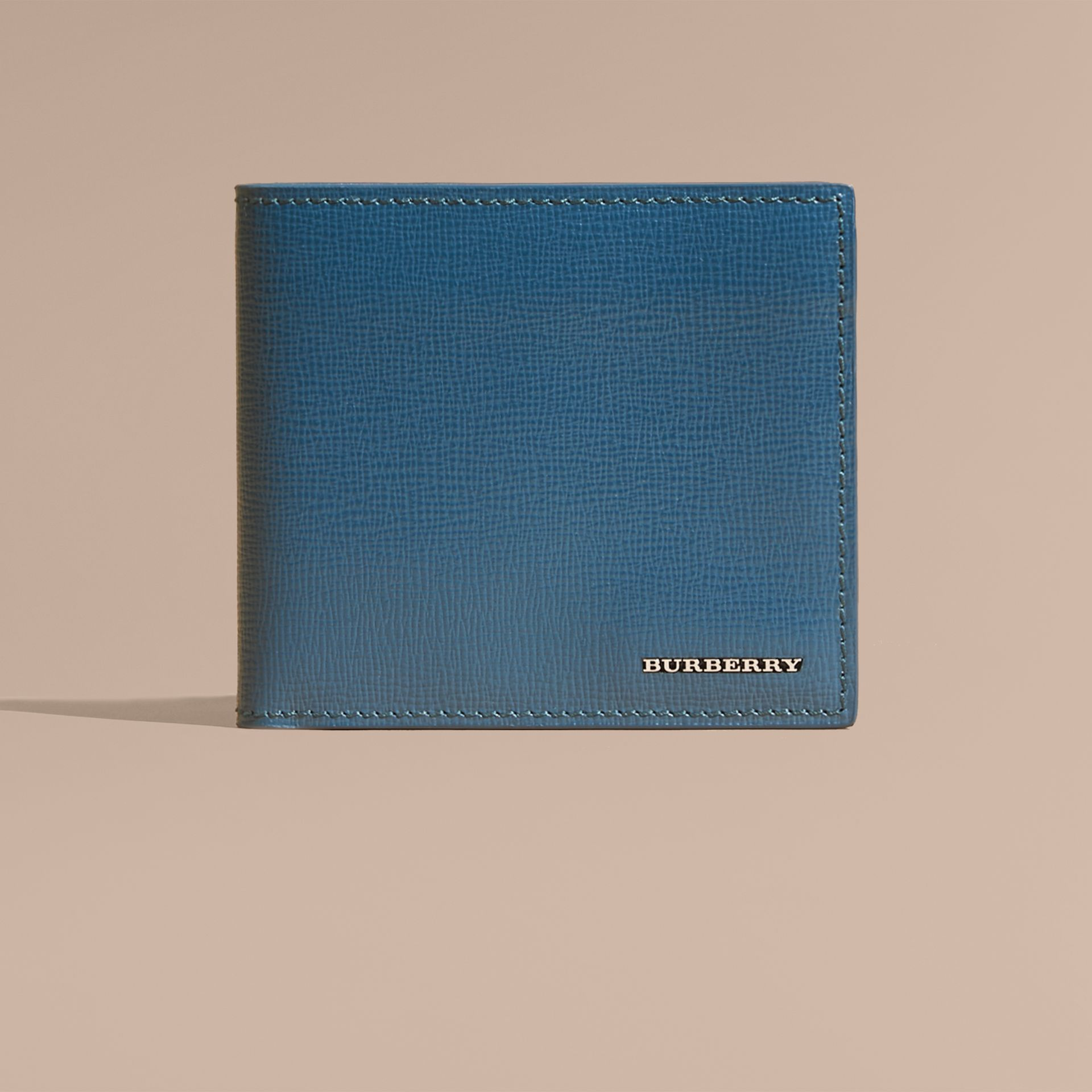 London Leather Folding Wallet Mineral Blue - gallery image 3