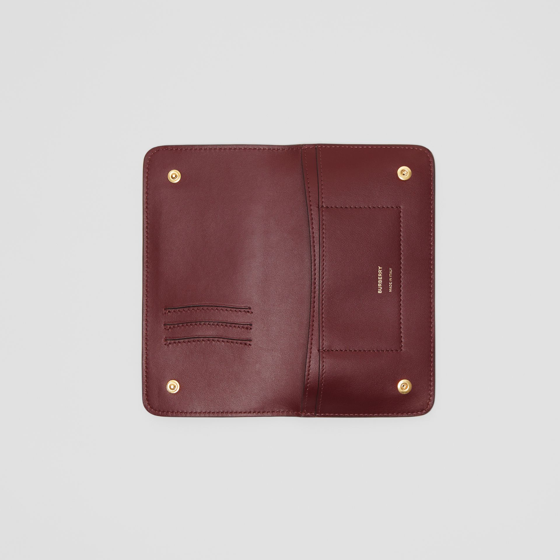 Monogram Leather Phone Wallet in Oxblood - Women | Burberry - gallery image 2