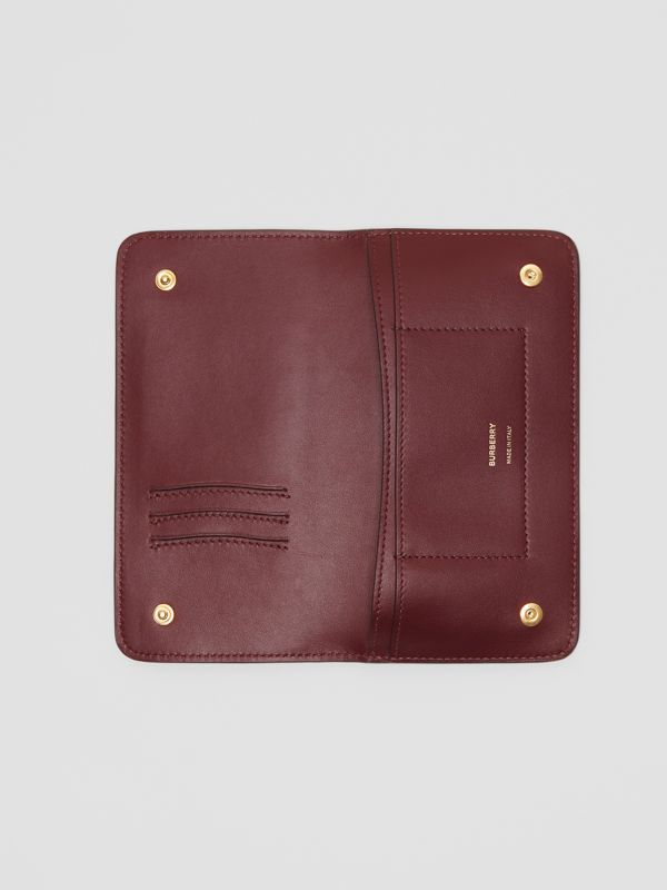 Monogram Leather Phone Wallet in Oxblood - Women | Burberry - cell image 2