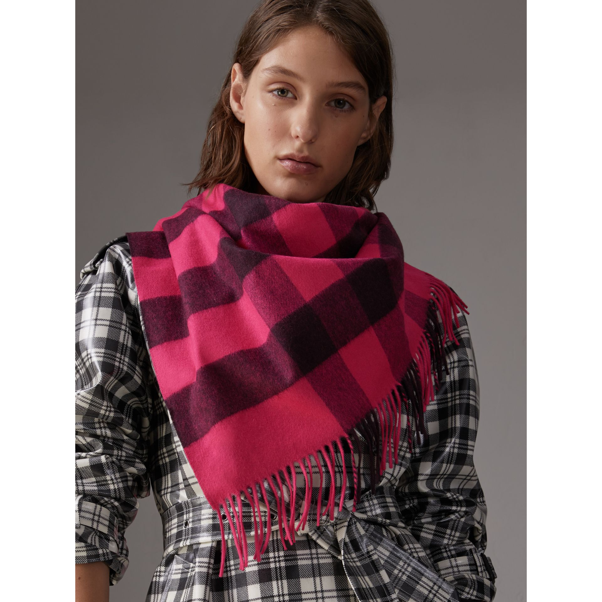 The Burberry Bandana in Check Cashmere in Bright Rose Pink | Burberry - gallery image 7