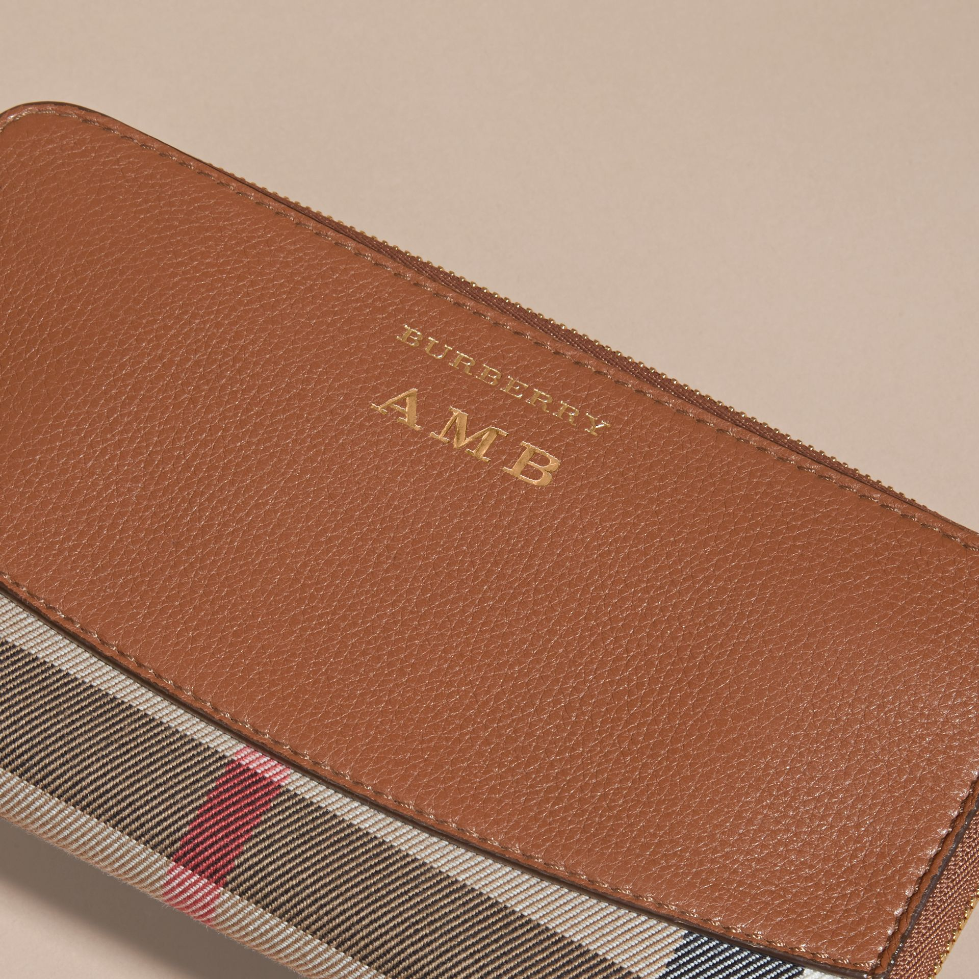 House Check and Leather Ziparound Wallet Brown Ochre - gallery image 7