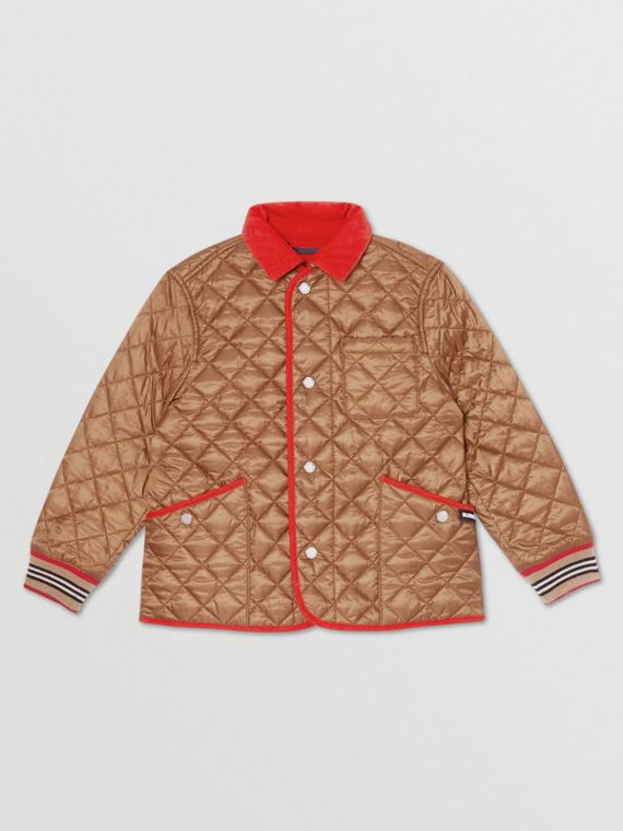 Icon Stripe Trim Lightweight Diamond Quilted Jacket in Bronze