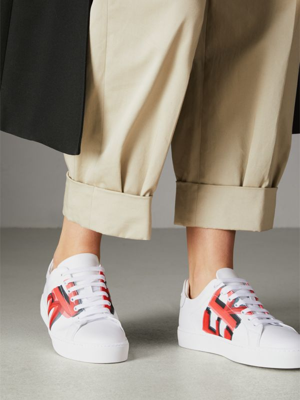 Graffiti Print Leather Sneakers in Bright Red - Women | Burberry Singapore - cell image 2