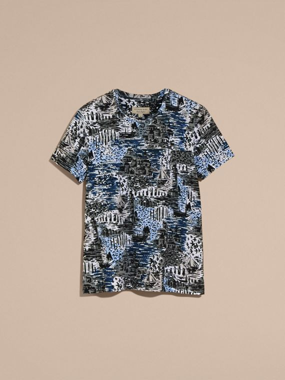 British Seaside Print Cotton T-shirt Steel Blue - cell image 3