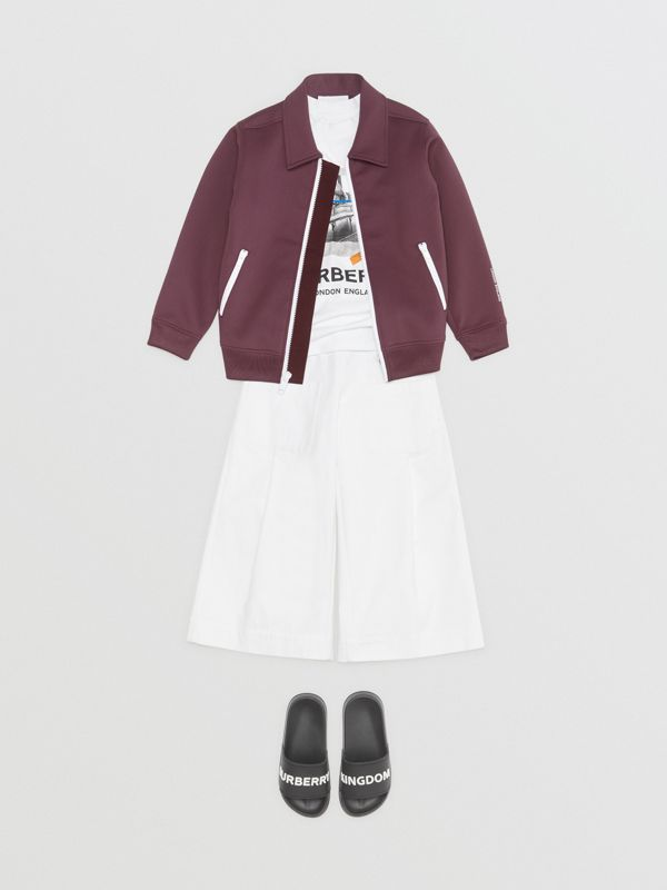 Logo Print Lightweight Track Top in Claret - Children | Burberry - cell image 3
