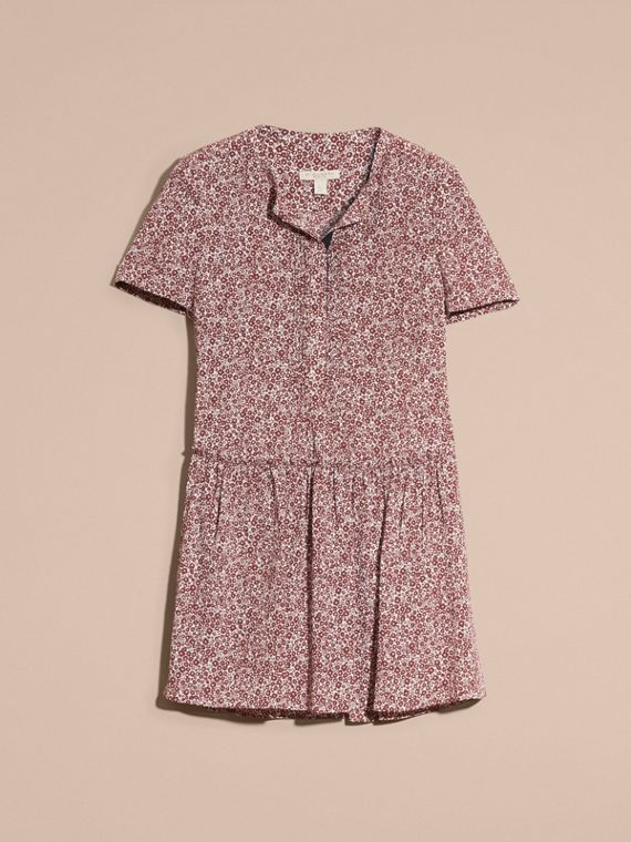 Garnet pink Floral Silk Georgette Shift Dress Garnet Pink - cell image 3