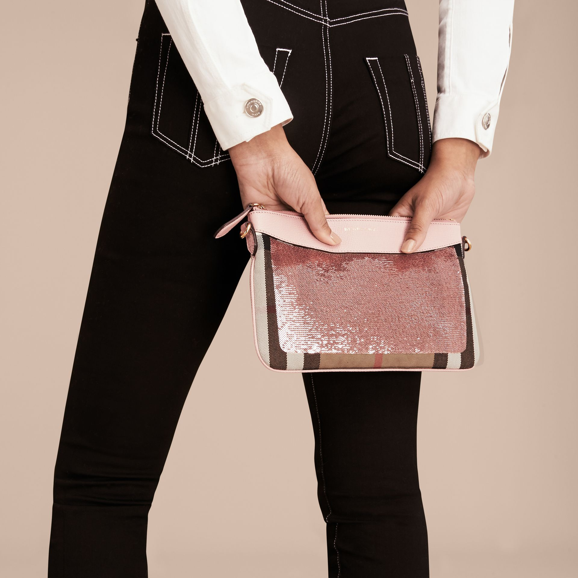 Light pink/ black Leather, Sequin and Check Clutch Bag Light Pink/ Black - gallery image 4