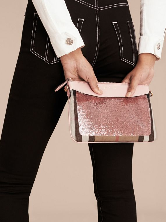 Light pink/ black Leather, Sequin and Check Clutch Bag Light Pink/ Black - cell image 3