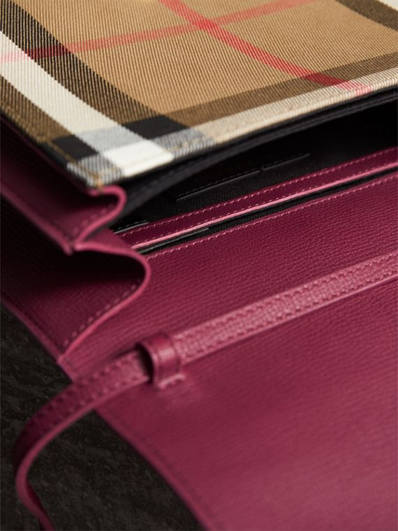 Small Leather and House Check Crossbody Bag in Berry Pink - Women | Burberry - cell image 3
