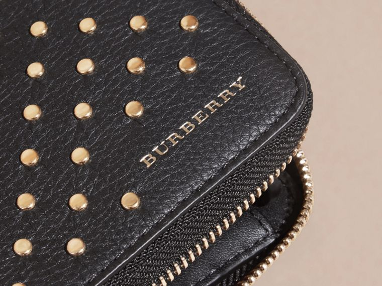 Black Studded Leather Ziparound Wallet - cell image 1