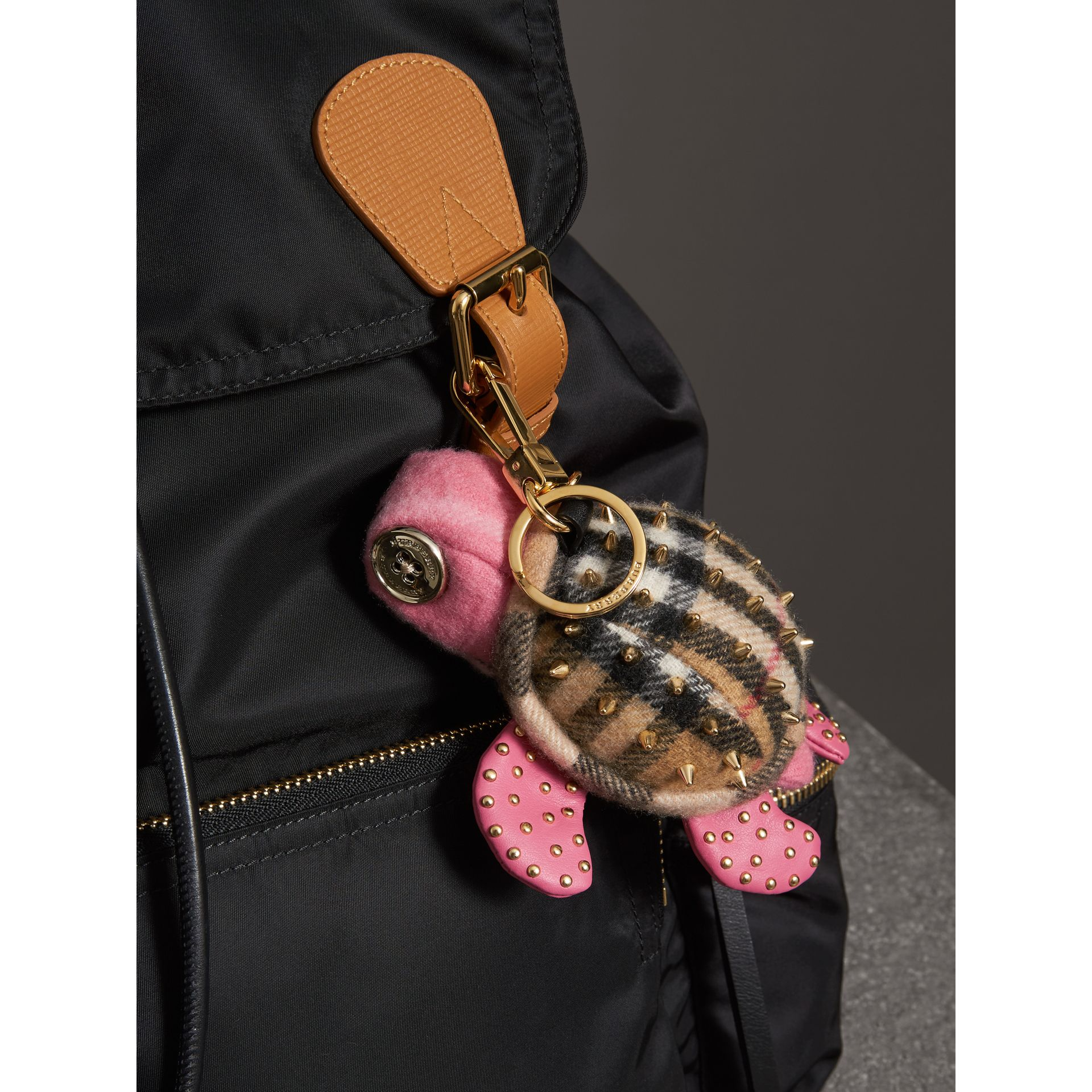 Beatrice The Turtle Cashmere Charm in Pink/antique Yellow | Burberry - gallery image 2