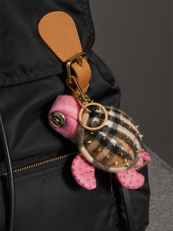 Beatrice The Turtle Cashmere Charm in Pink/antique Yellow | Burberry - cell image 2