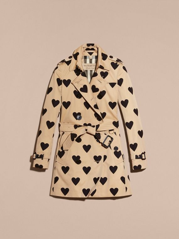 Black/honey Heart Print Cotton Gabardine Trench Coat - cell image 3
