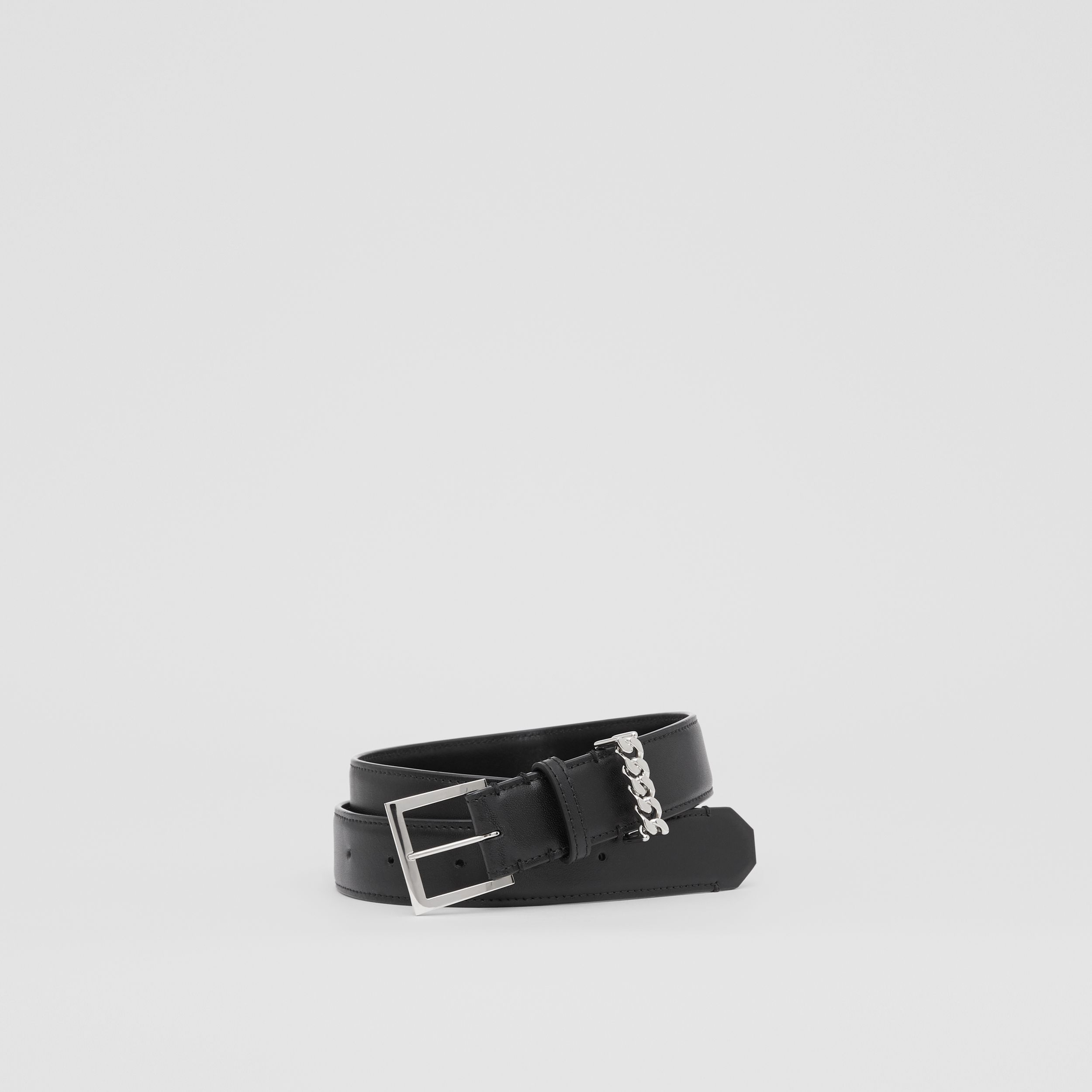 Chain Detail Leather Belt in Black/palladium | Burberry - 1