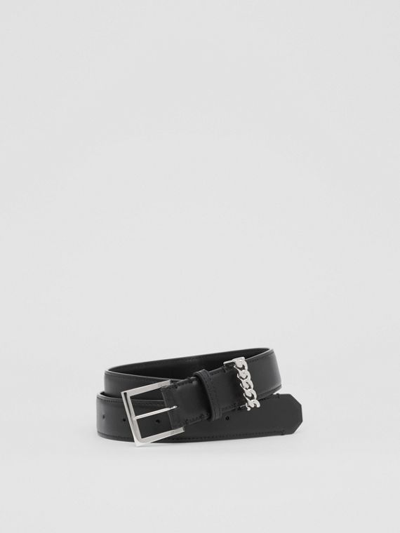 Chain Detail Leather Belt in Black/palladium