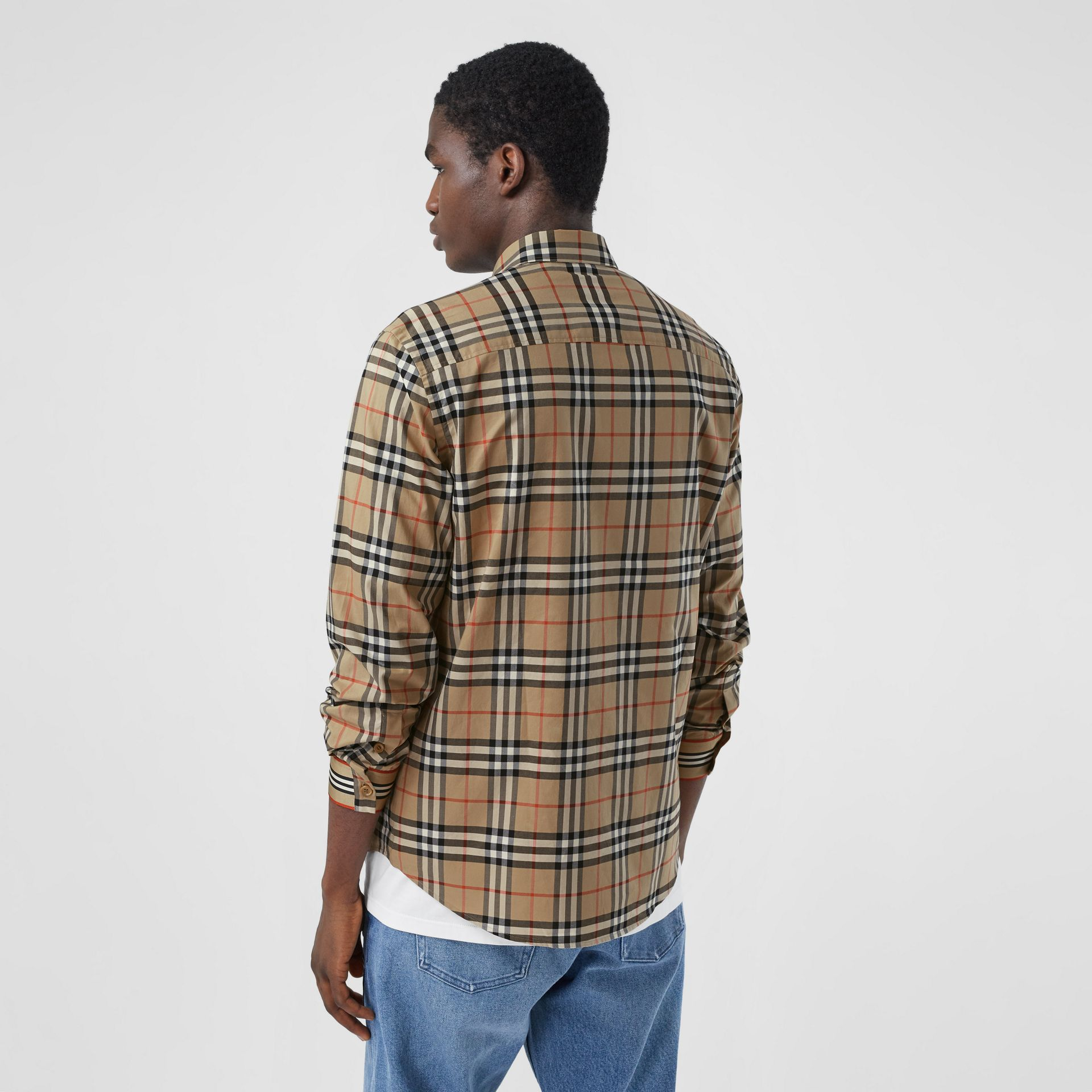 Icon Stripe Cuff Vintage Check Cotton Shirt in Archive Beige - Men | Burberry - gallery image 2