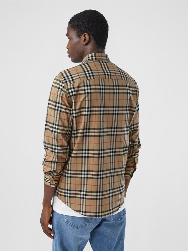 Icon Stripe Cuff Vintage Check Cotton Shirt in Archive Beige - Men | Burberry - cell image 2