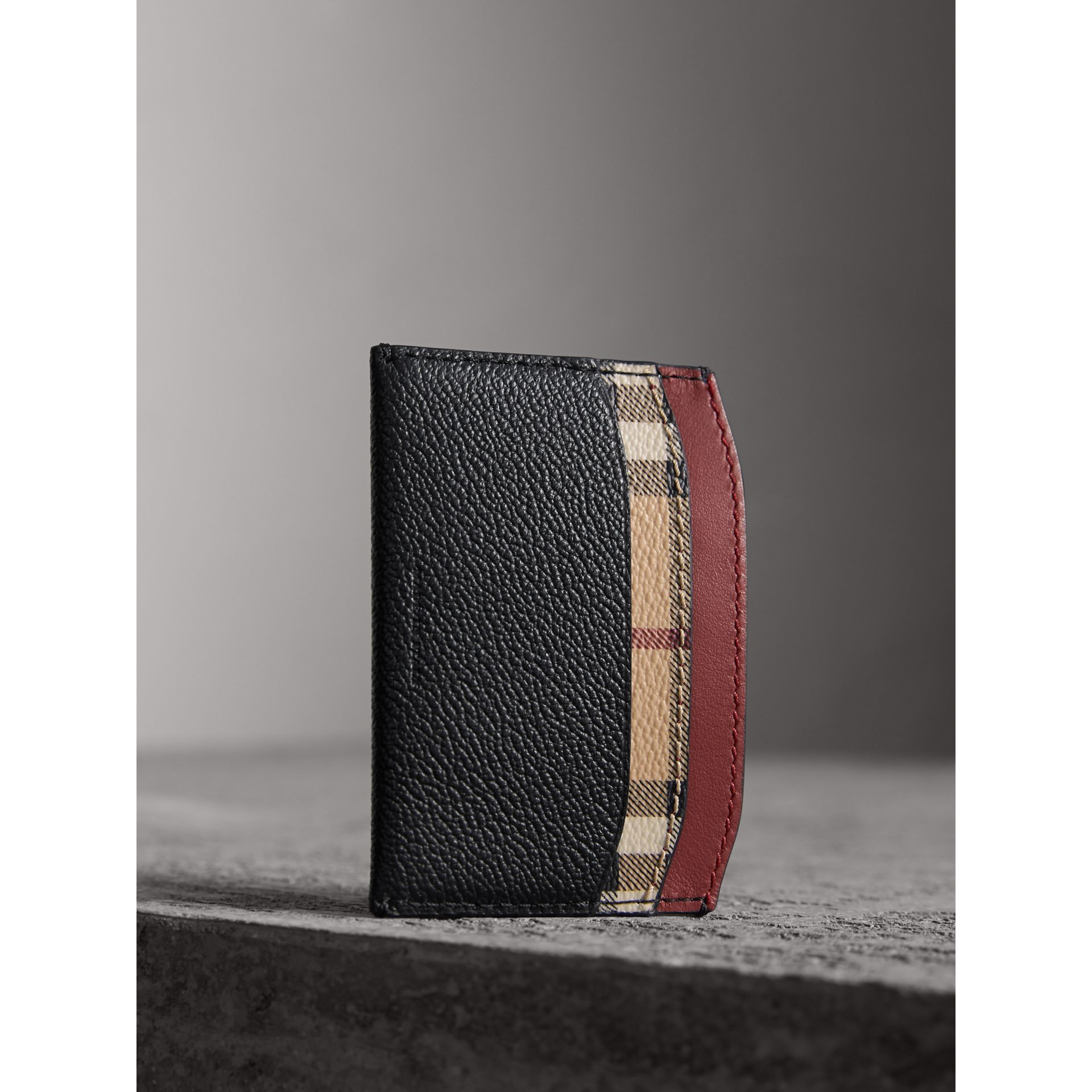 Colour Block Leather and Haymarket Check Card Case in Black/multicolour - Women | Burberry - gallery image 3