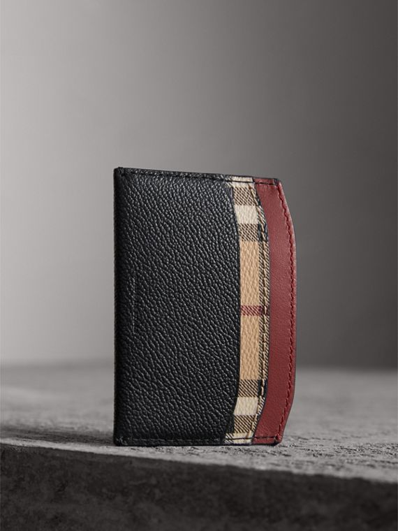 Colour Block Leather and Haymarket Check Card Case in Black/multicolour - Women | Burberry - cell image 3