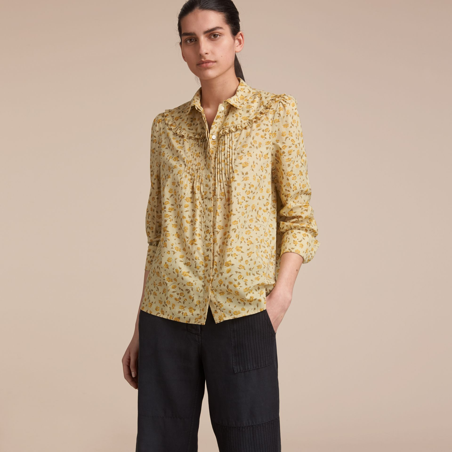 Ruffle Yoke Floral Print Cotton Shirt in Chalk Yellow - Women | Burberry - gallery image 6